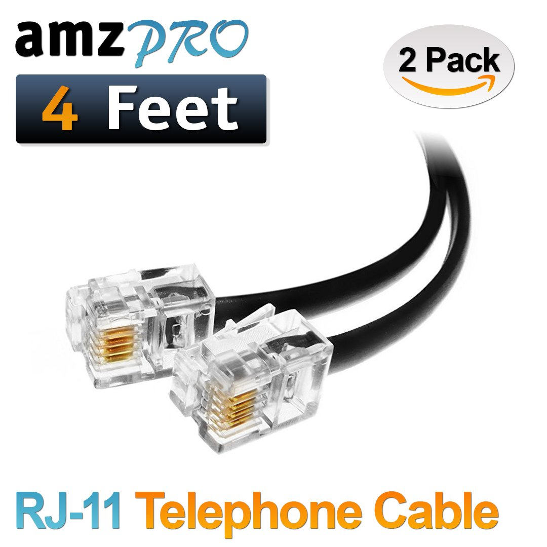 (2 Pack) 3 Feet Black Short Telephone Cable Rj11 Male to Male 36 inch Phone Line Cord AmzDeals 4330244180