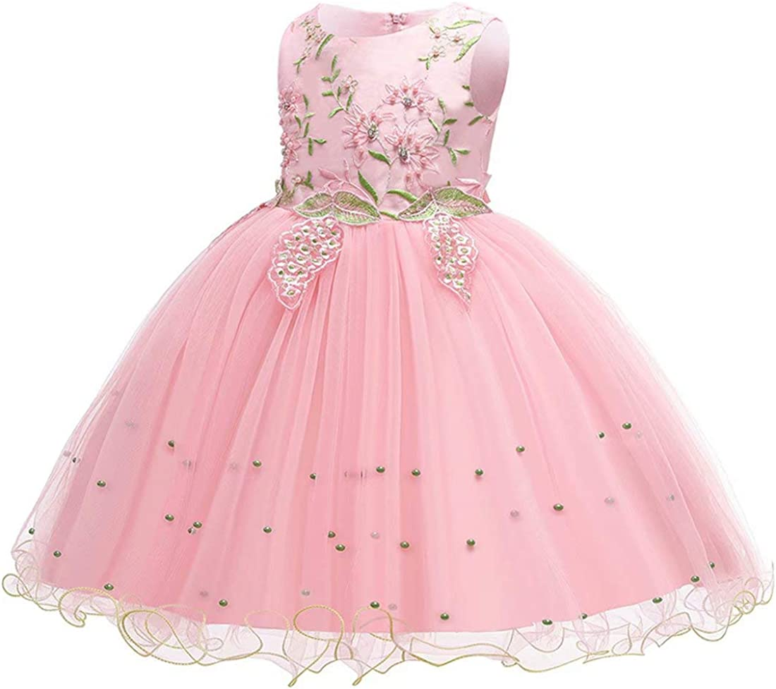 2019 Baby Girls Sleeveless Dress Kids Cute Bow Lace Princess Party Dress Age 3-8