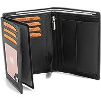 Portefeuille Pour Homme En Real Cuir 12,5 x 9,5 x 2 cm Blocage RFID Noir