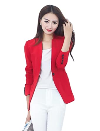Mcdslrgo - Chaqueta de traje - para mujer rojo rosso Asiático L ...