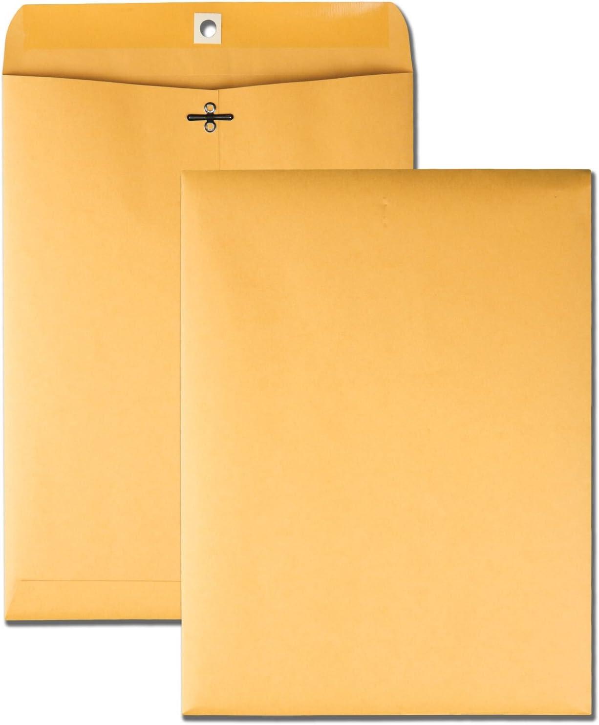 """Quality Park 9"""" x 12"""" Clasp Envelopes, Brown Kraft, Gummed Flap, 100/Box (QUA37790) : Office Products"""