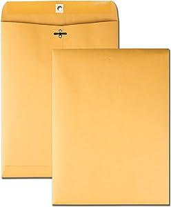 "Quality Park 9"" x 12"" Clasp Envelopes, Brown Kraft, Gummed Flap, 100/Box (QUA37790)"