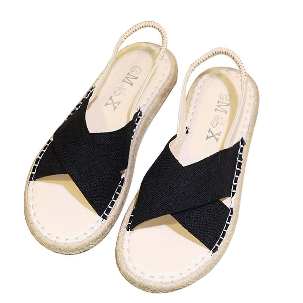 Xianshu Womens Shoes Open Toe Back Cross Strap Strap Sandales Roman Sling Back Flip Flop Summer Beach Shoes Noir be22bc4 - boatplans.space