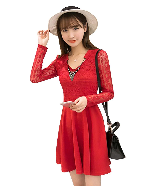 SaiDeng Frauen Reizend V Ansatz Spitze Verstärkendes Kleid