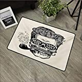 Pool anti-slip door mat W35 x L59 INCH Indie,Hipster Gentleman Skull with Mustache Pipe and Eyeglasses with Inscription Vintage,Black Cream Easy to clean, no deformation, no fading Non-slip Door Mat C