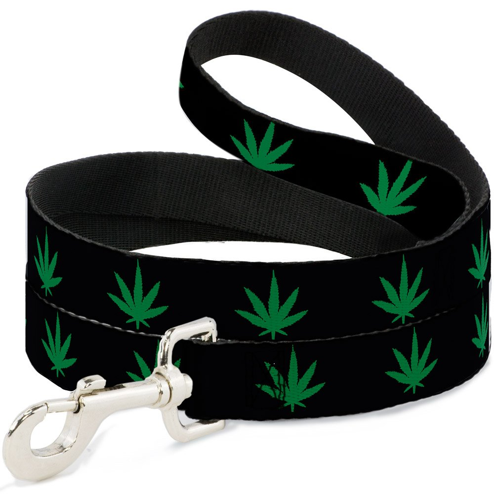Buckle-Down DL-W31337-N Narrow 0.5  Marijuana Leaf Repeat Black Green Dog Leash, 4'