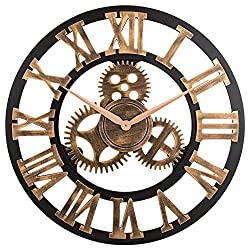 OLDTOWN Clock 3D Retro Rustic Vintage Wooden 23-Inch Noiseless Gear Wall Clock, Roman-Anti-Bronze