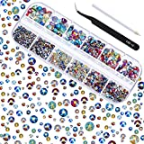 TecUnite 2000 Pieces Flat Back Gems Round Crystal