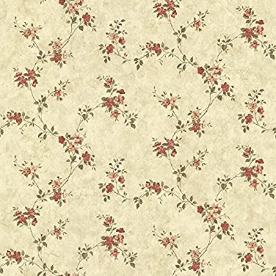Chesapeake CTR64192 Rose Valley Red Floral Trail Wallpaper