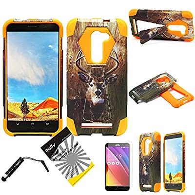 For Asus Zenfone 2E AT&T / ITUFFY 3items: Screen Film+Stylus Pen+Dual Layer Impact Resistance Plastic Cover Soft Rubber KickStand Hybrid Case