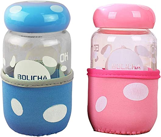 BESTONZON - 2 Bonitas Botellas de Agua de Cristal portátil Transparente para niños (Color Aleatorio): Amazon.es: Hogar
