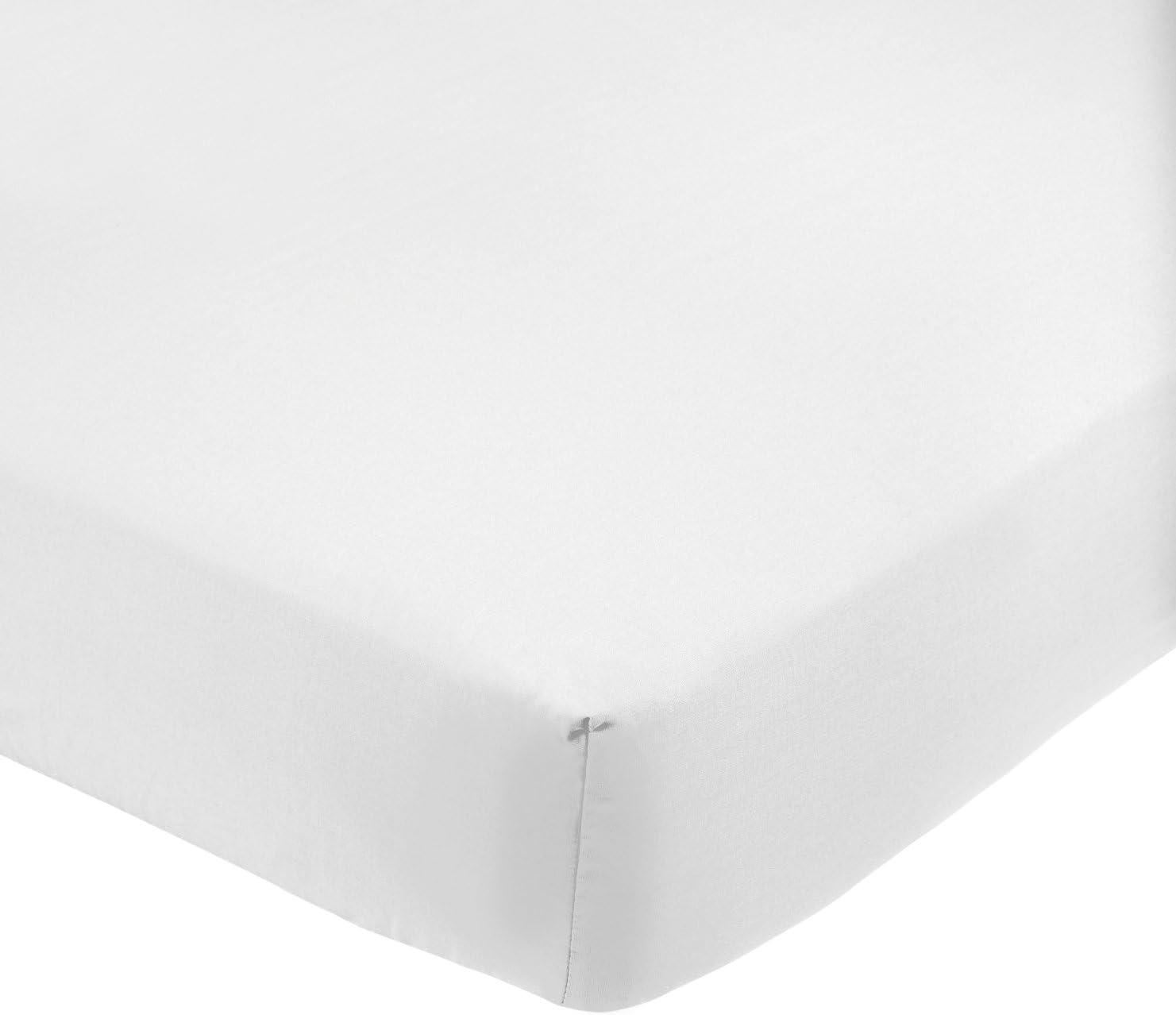 AmazonBasics - Sábana bajera ajustable (polialgodón 200 hilos) Blanco - 90 x 200 x 30 cm