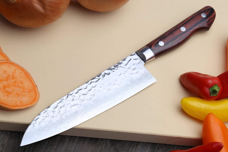 Amazon.com: Yoshihiro VG-10 Damascus Santoku cuchillo ...