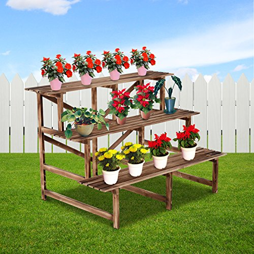 Indoor Outdoor Garden Wooden Plant Planter Flower Pot Corner/Rect Stand Shelf. Decorative Indoor/Outdoor Garden Backyard Planter, Red (Typev C)