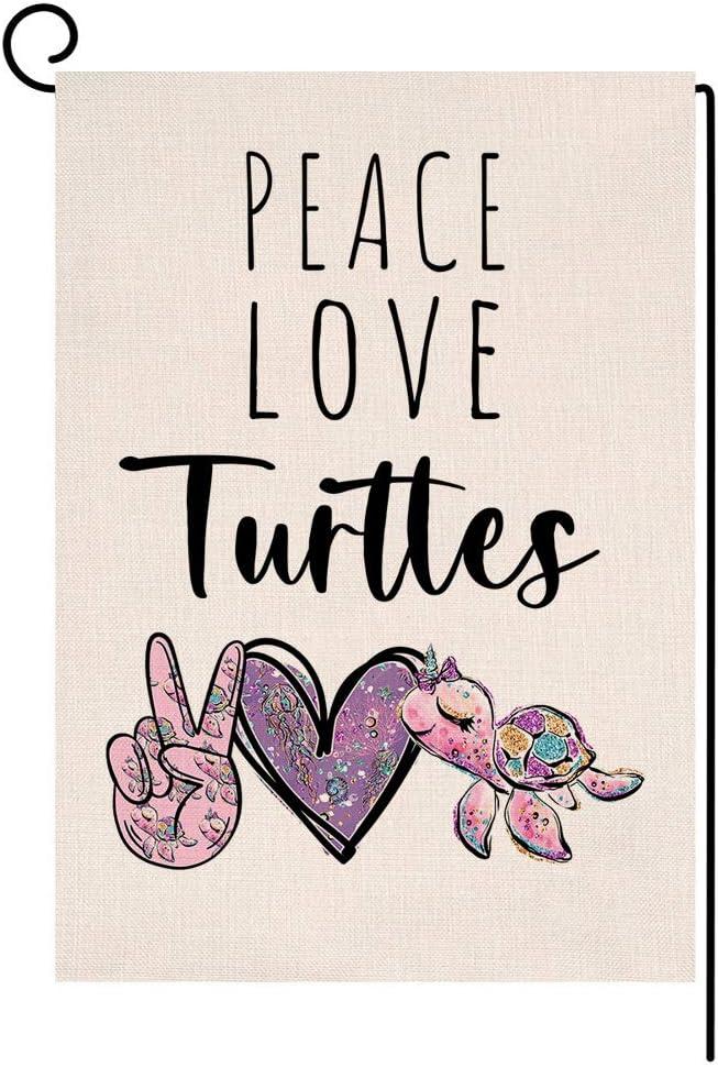 BLKWHT Summer Beach Sea Turtles Garden Flag Vertical Double Sided Peace Love Burlap Yard Outdoor Decor 12.5 x 18 Inches A2186