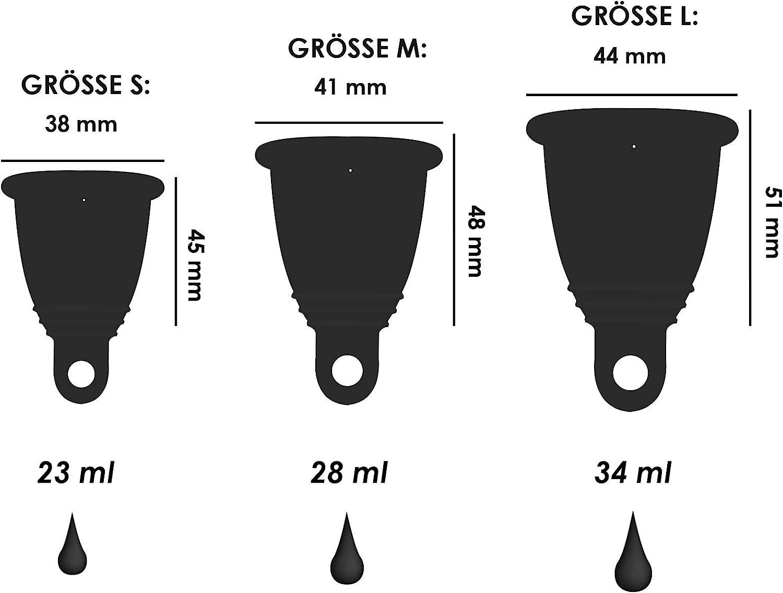 CarrieCup Copa menstrual mediana, fabricada en Alemania, sin BPA, alternativa a tampones y compresas, sin silicona, incluye bolsa negra