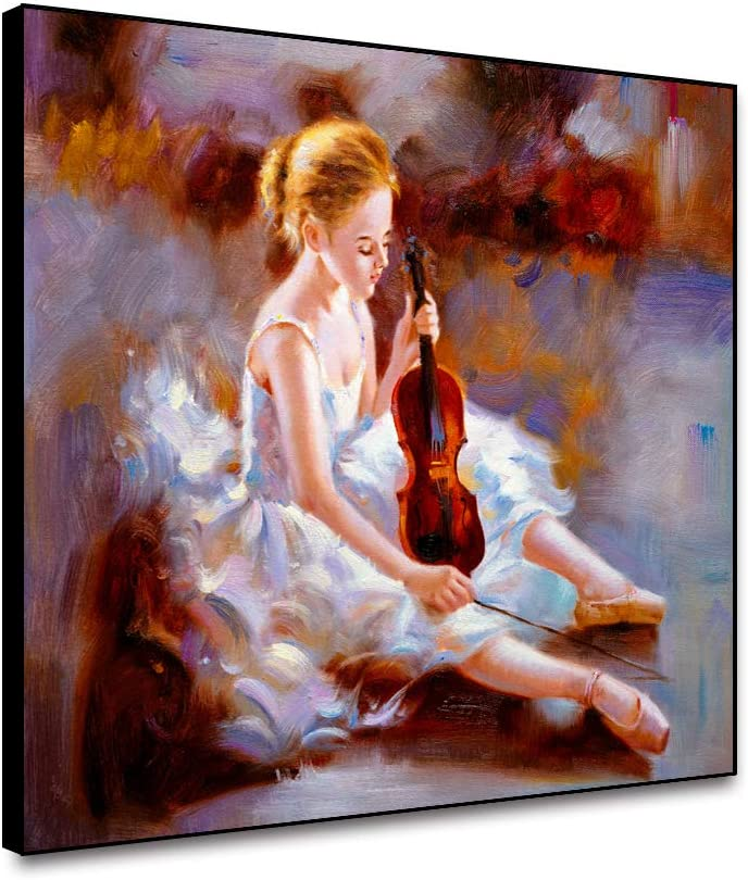 Leowefowas Ballet Dancer With Violin Canvas Wall Art Prints Framed The Girl Playing Violin Oil Painting Canvas Poster Modern Home Decor Wall Artwork Canvas Picture For Living Room Bedroom 20x16inch