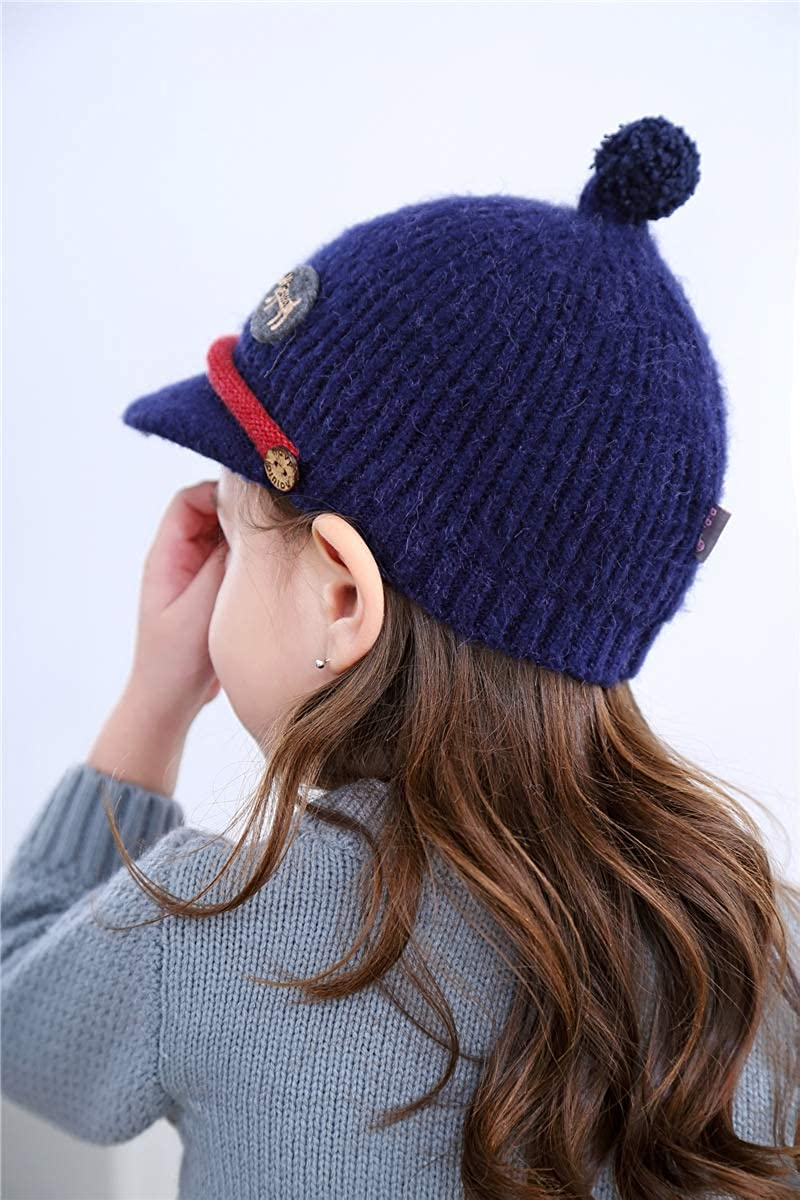 Childrens Knit Hat Girl Button Baseball Cap Cute Hat for Winter