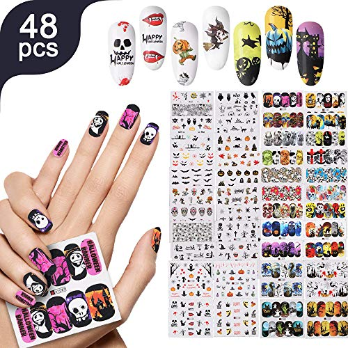 Lady Up 48 Sheets Variety Nail Art Stickers Decals Water Tranferred For Women Girls DIY Nail Art Design ()