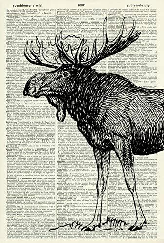 MOOSE ART PRINT - ART PRINT - ANIMAL ART PRINT - WALL ART - Vintage Art Print - Illustration - Picture - Vintage Dictionary Art Print - Wall Hanging - Home Décor - Book Print - Wall Art 358D
