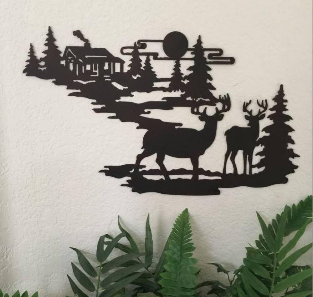 Cabin Ironworks Deer and Lodge in Woodlands Metal Wall Art ...