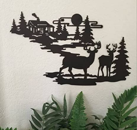 Amazon.com: Deer and Lodge in Woodlands Metal Wall Art By Cabin ...