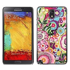 TopCaseStore / la caja del caucho duro de la cubierta de protección de la piel - Floral Pink Pattern Girly - Samsung Galaxy Note 3 N9000 N9002 N9005