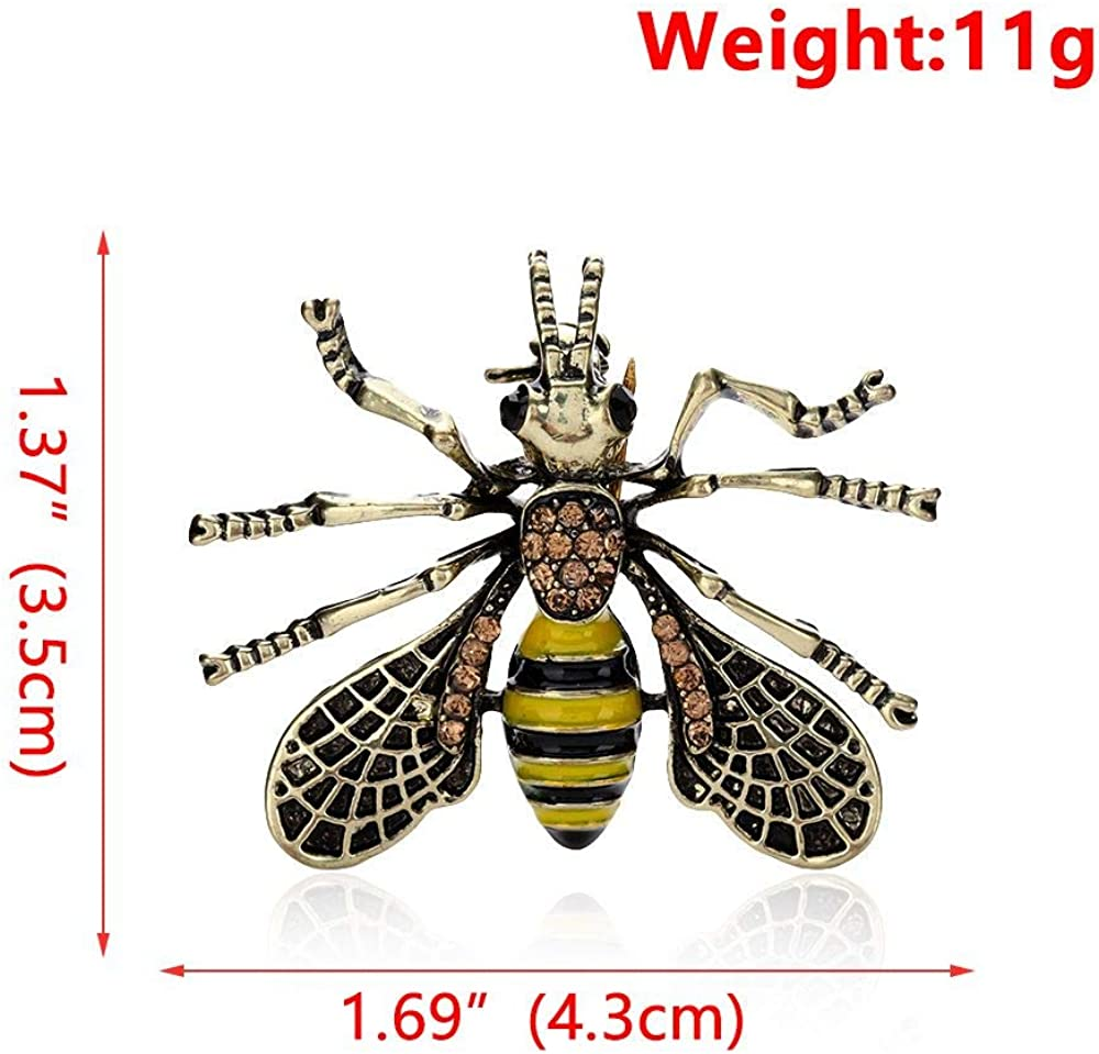 outopeno 1Pc Retro Bee Brooch Pins Sweater Shawl Scarf Small Metal Insect Bumblebee Brooches Lapel Suit Collar Pins