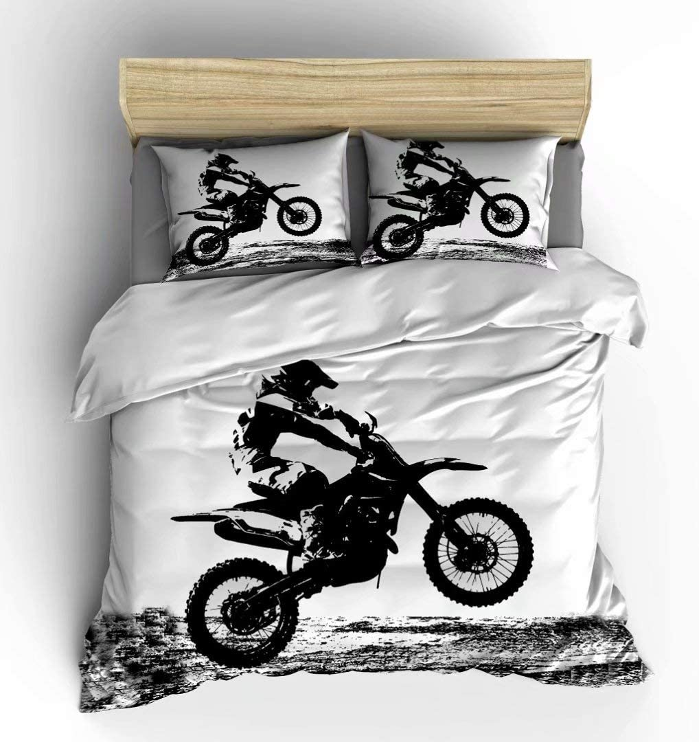 Vichonne Dirt Bike Bedding Sets Full Size,3 Piece Motocross Racer Extreme Sports Theme Duvet Cover Sets with Pillowcases for Teens Boys Girls Bedroom Decorative,White Black,No Comforter