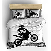 Vichonne Dirt Bike Bedding Sets Twin Size,3 Piece Motocross Racer Extreme Sports Theme Duvet Cover Sets with Pillowcases…