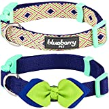 Blueberry Pet Multiple Designs 2 PCs Valentine Mix and Match Stunning Diamonds Designer Dog Collar for Puppies & Small Dogs with Green Bow Tie, S, Neck 12
