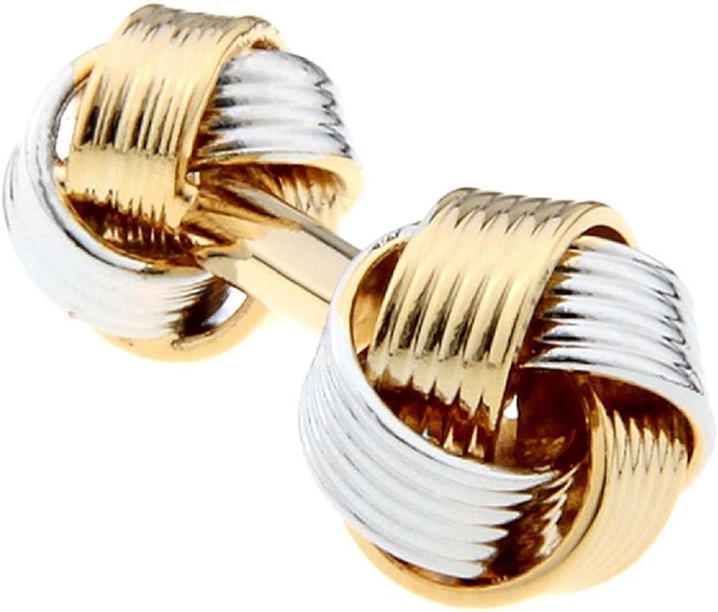 MRCUFF Knot 2 Two Tone Dual Ends Pair Cufflinks in a Presentation Gift Box & Polishing Cloth