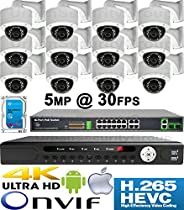 USG 5MP @ 30FPS 12 Camera Security System H.265 Ultra 4K PoE IP CCTV Kit : 12x 5MP 3.6mm Dome Camera + 1x 36 Channel 8MP NVR + 1x 10 Port PoE Network Switch + 1x 4TB HDD : Phone App : Business Grade