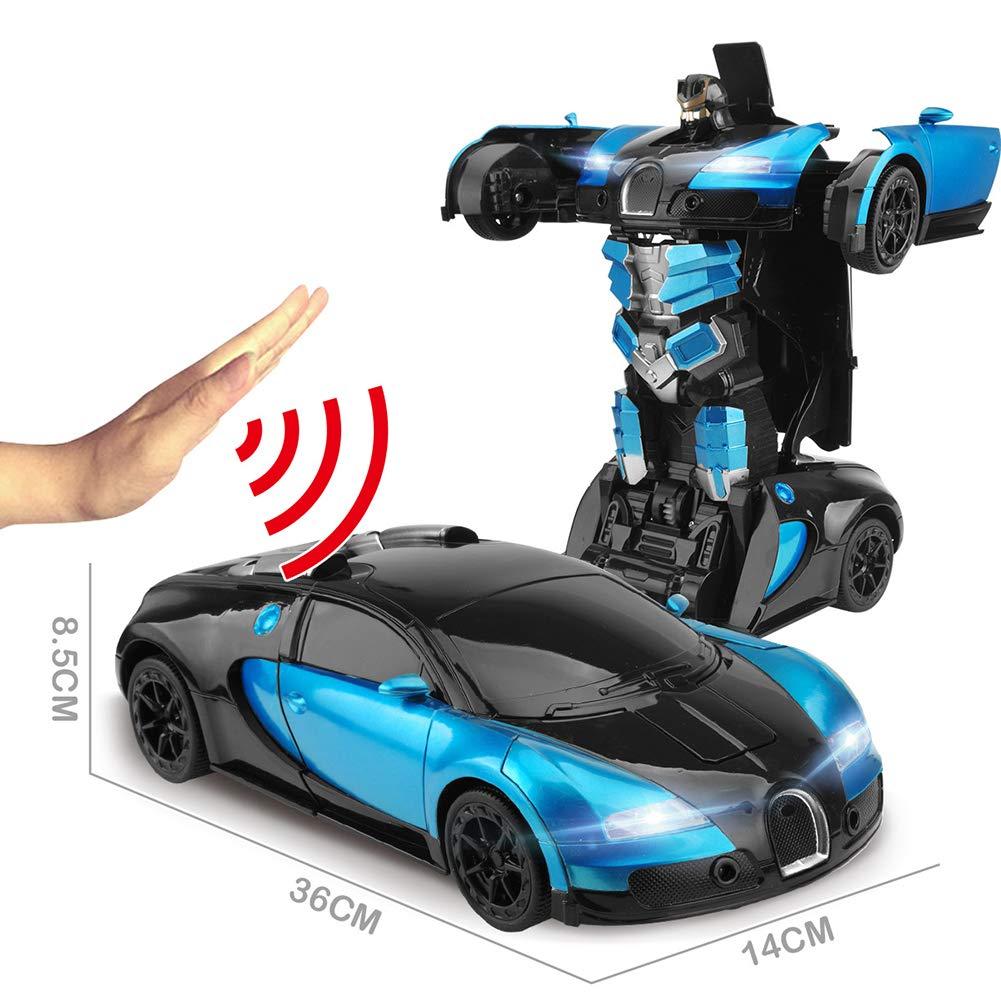 Kinder Fernbedienung Auto Geste Sensing Transformers 1 12 Verhältnis Simulation Auto Modell Großes Geschenk Für Jungen Und Mädchen,Blau