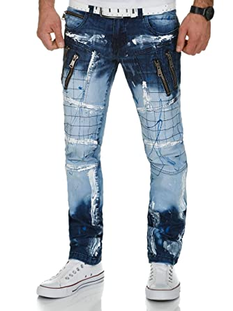 Hombres Jeans Azul HombresRopa Lupo Kosmo Pantalones Cremallera HE9eDYW2Ib