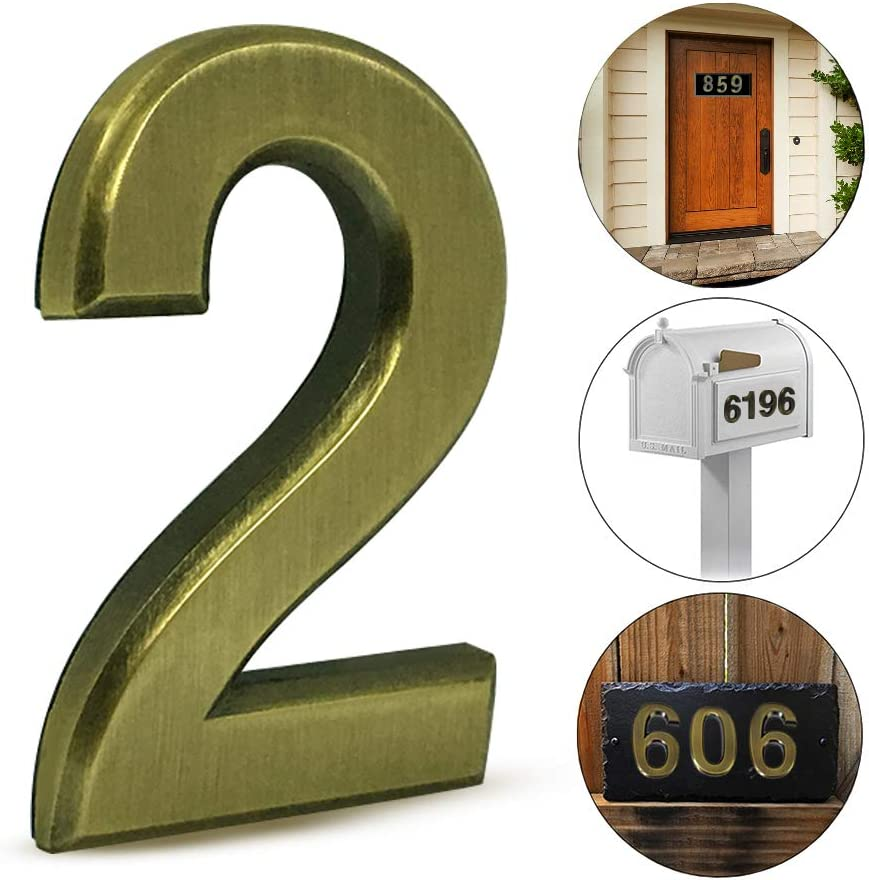 2 pcs Mailbox Numbers 2,3D Brass Metal Self-Stick Door House Numbers,Street Address Plaques Numbers for Residence and Mailbox Signs,2-3/4 Inch