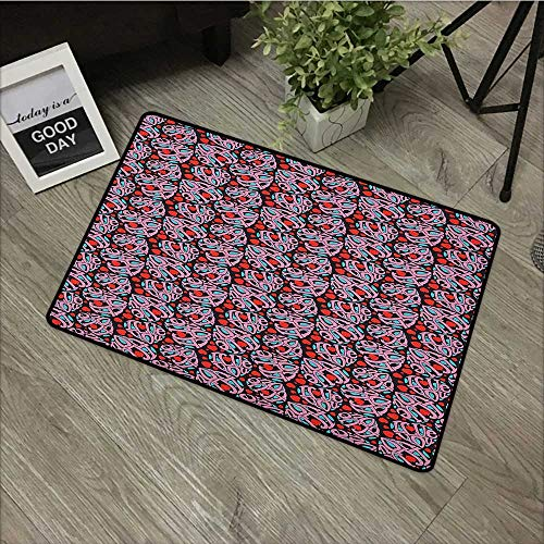 Meeting room mat W31 x L47 INCH I Love You,Composition of the Letters in the Shape of a Heart Declaration of Love Feelings, Multicolor Easy to clean, no deformation, no fading Non-slip Door Mat Carpet
