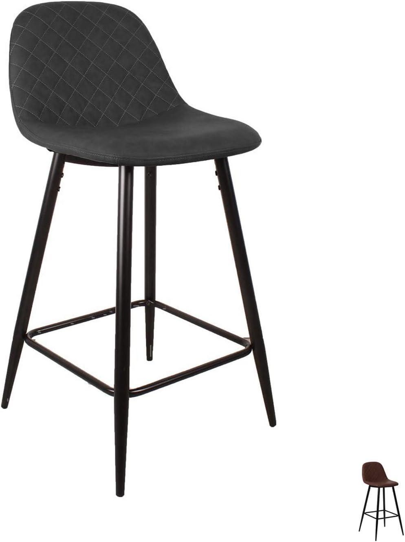 Nimara Elba Tabouret de bar avec dossier en cuir synth/étique pour table de bar Tabouret pour salle /à manger et cuisine Tabouret de bar en cuir pour bar et coffres