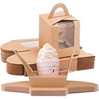 NPLUX Cupcake Boxes,60pcs Single Cupcake Carrier with Window Inserts for Bakery Wrapping(Brown)