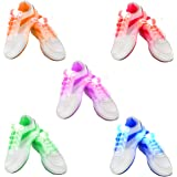 2win2buy 5 Pairs Waterproof Luminous LED Shoelaces Fashion Light Up Casual Sneaker Shoe Laces Disco Party Night Glowing Shoe Strings