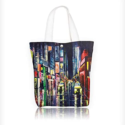 Amazon Com Canvas Tote Bag Original Acrylic Paint City