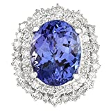 12.86 Carat Natural Blue Tanzanite and Diamond (F-G Color, VS1-VS2 Clarity) 14K White Gold Luxury Cocktail Ring for Women Exclusively Handcrafted in USA