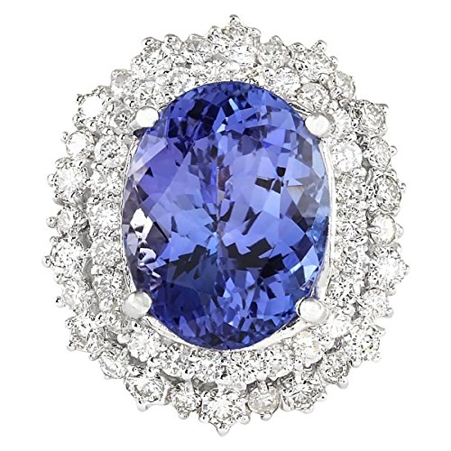 (12.86 Carat Natural Blue Tanzanite and Diamond (F-G Color, VS1-VS2 Clarity) 14K White Gold Luxury Cocktail Ring for Women Exclusively Handcrafted in USA)