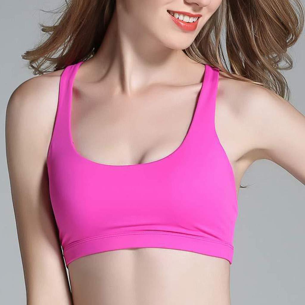 Jianekolaa_Lingerie Women's Spot Comfort Full-Support Sport Bra Seamless Crisscross Back Sport Gym Wireless Bra Hot Pink by Jianekolaa_Lingerie (Image #5)