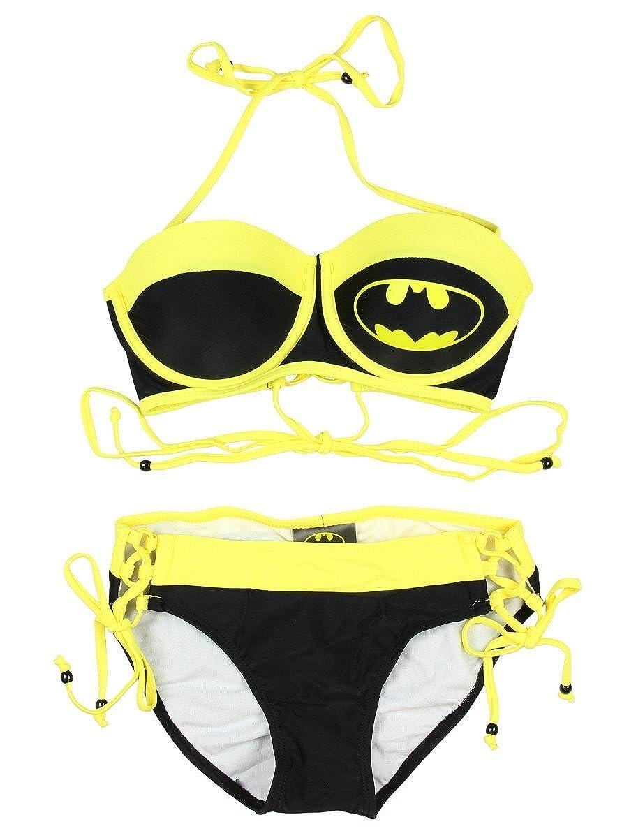 bf2fa72fc637d Batman Logo Two Piece Bustier Lace Low Rise Bikini Swimsuit Ingear Fashions  DC16BG4460 ...