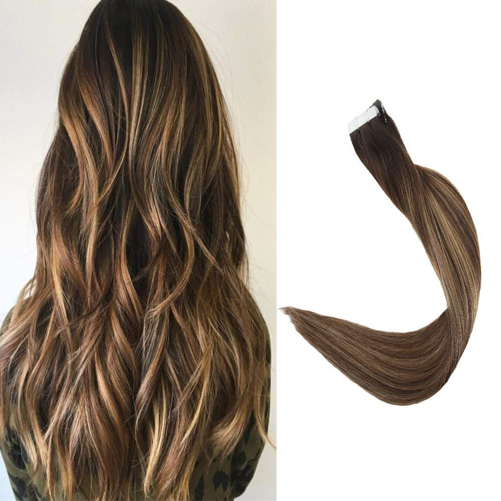 Full Shine 18'' 20 Pcs 50 Gram Per Package Salon Professional Hair Color #2 Darkest Brown Fading to #3 Darker Brown And #27 Balayage Extensions Seamless Tape in Hair Extensions Human Hair Extensions