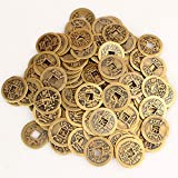 niceEshop(TM) 50pcs Authentic Ancient Chinese Coins Qing Dynasty Feng Shui Purpose Fortune Copper Coin, Random Mixed 2.3cm/1inch