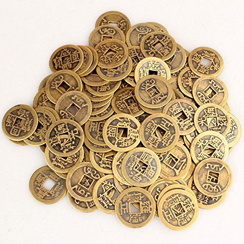 niceEshop(TM) 50pcs Authentic Ancient Chinese Coins Qing Dynasty Feng Shui Purpose Fortune Copper Coin, Random Mixed 2.3cm/1inch ()