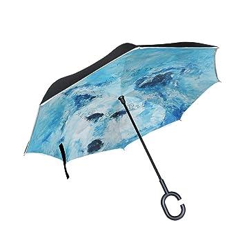 XiangHeFu Paraguas invertido de Doble Capa Invertido Patrón de ...