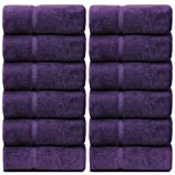 BC BARE COTTON Bare Cotton Luxury Hotel & Spa Towel Turkish Wash Cloths Dobby Border,Plum, Set of 12